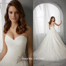 Vestido De Noiva Sexy Pleated Sweetheart White Organza Princess Bridal Dresses Wedding Gowns 2015
