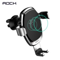 ROCK Wireless Charger Metal Gravity Car Holder For IPhone 8 X 10W Alloy Qi Gravity Wireless
