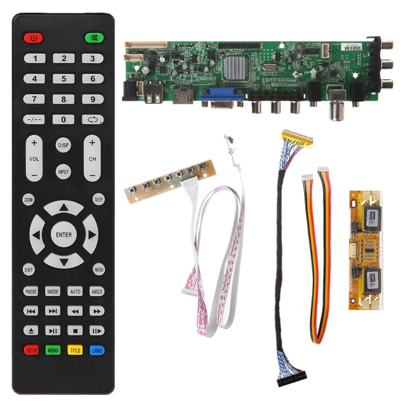 1 set Remote Control V56 V59 LCD TV Driver Board DVB-T2+7 Key Switch+IR+4 Lamp Inverter+LVDS Kit 3663 TV Driver Board Kit tv driver board hx v29 39 l
