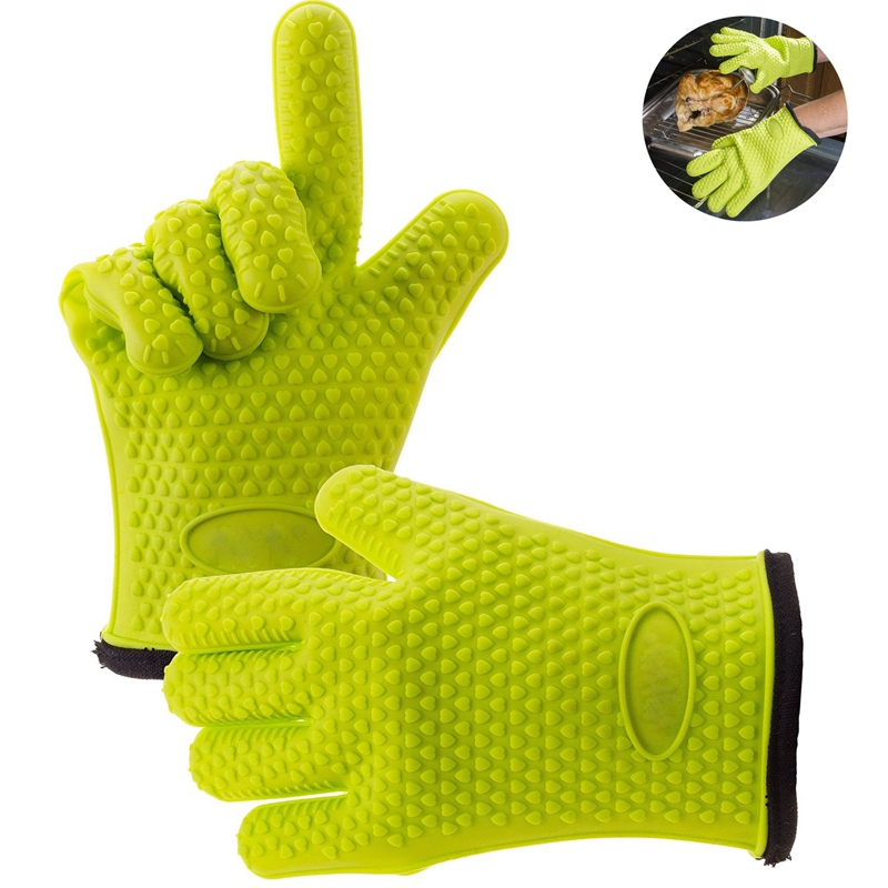 1PCS Heat Resistant Silicone Oven Gloves Cotton Microwave Mitts Silicone BBQ Mitt Cotton Baking Glove For Pot Cooking Tools