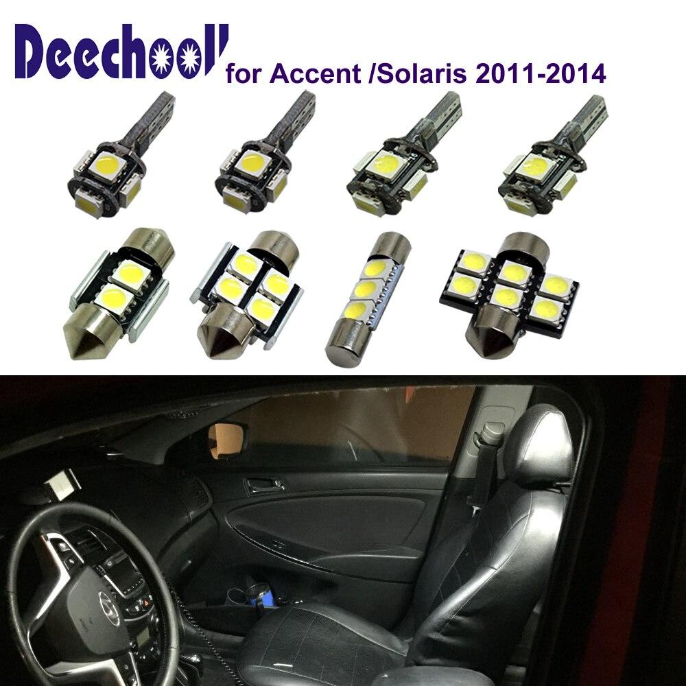 Deechooll 6pcs Car LED Bulbs For Hyundai Accent 2011-2014,Cold White Interior Light For Hyundai Solaris 11-14 Reading Lights