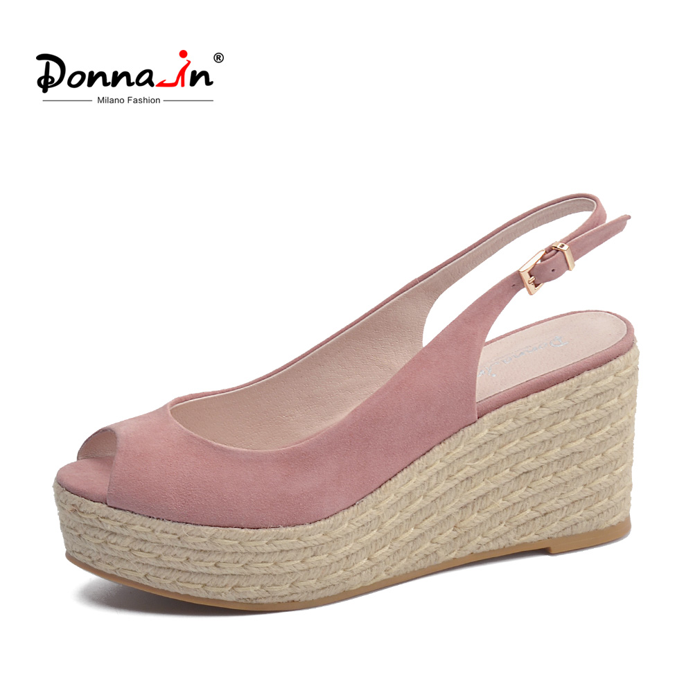 Donna-in 2018 Summer Women Sandals Natural Suede Leather Sandals Platform High Heel Wedge Shoes Open Toe Fashion Shoe for Ladies leisure women shoes wedge high heel slope sandals open toe summer slip on party sandals waterproof platform slipper