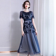 Party Dress Summer Woman 2019 New Fashion Embroidered Round Neck Short Sleeves Empire Waist Slim Plus Size Mesh Dress Long M-3XL