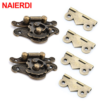 NAIERDI 2Pcs Antique Bronze Jewelry Wooden Box Hasp Latch + 4Pcs Cabinet Hinges Mini Door Hinges Hardware Furniture Accessories bqlzr metal decorative bronze mini spring hinges replacement for jewelry box pack of 20