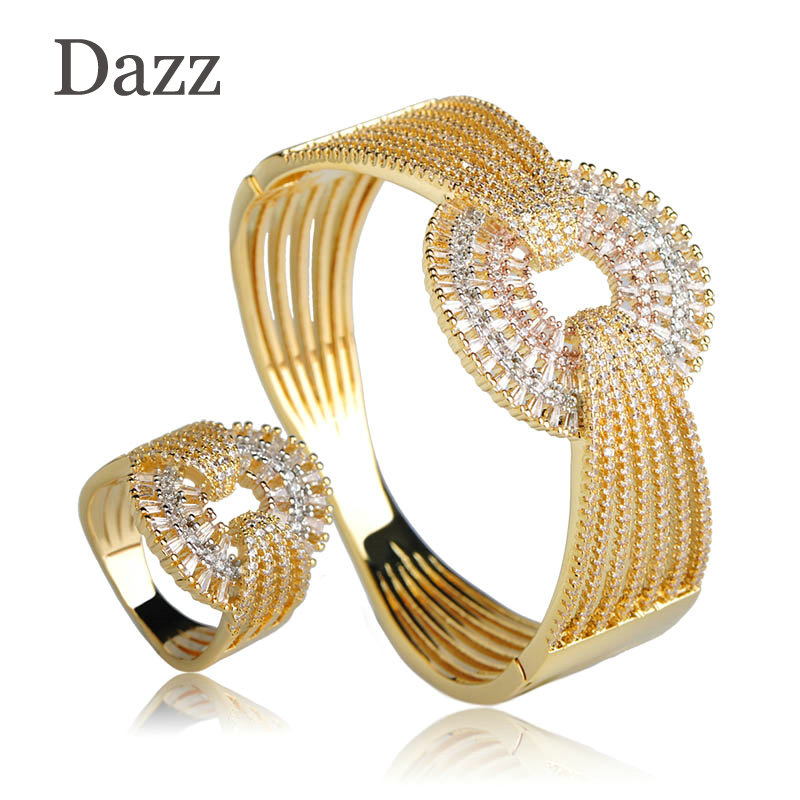 Dazz Luxury Wedding Wide Bangle Ring Set Three Tones Color Full Zircons Jewelry Sets Women Lovers Party Gifts Hand AccessoriesDazz Luxury Wedding Wide Bangle Ring Set Three Tones Color Full Zircons Jewelry Sets Women Lovers Party Gifts Hand Accessories