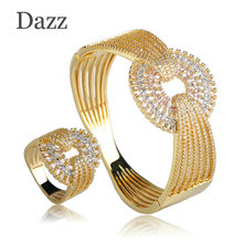 Dazz Luxury Wedding Wide Bangle Ring Set Three Tones Color Full Zircons Jewelry Sets Women Lovers Party Gifts Hand Accessories