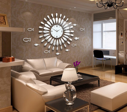Creative Mirror shine Living Room Bedroom Watch Clock Large - living room clock