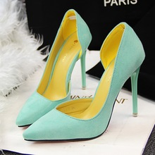 Fall 2017 Fashion Contracted High Heel with Suede Shallow Thin Mouth Pointed Sexy Side Hollow Out Single Woman Shoes Pumps