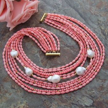 "new Pink Coral White Keshi Pearl 18"" 11 Strands Necklace"