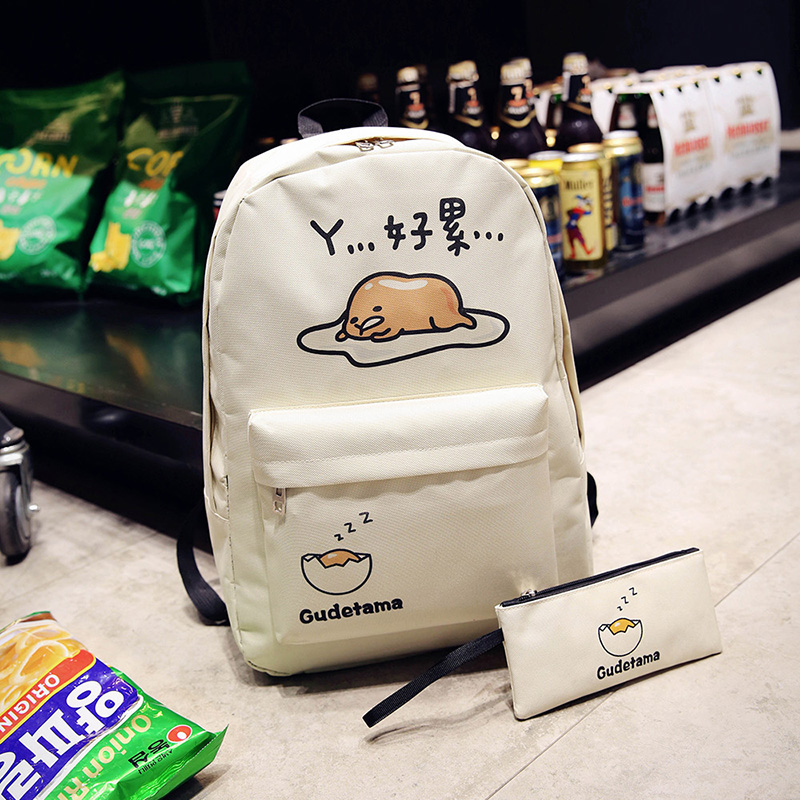 Japanese cartoon cartoon canvas shoulder bag cute egg yolk king bag bag lazy egg student bag casual backpack tide korean version canvas shoulder bag backpack student bag ladies cartoon cute new child birthday gift