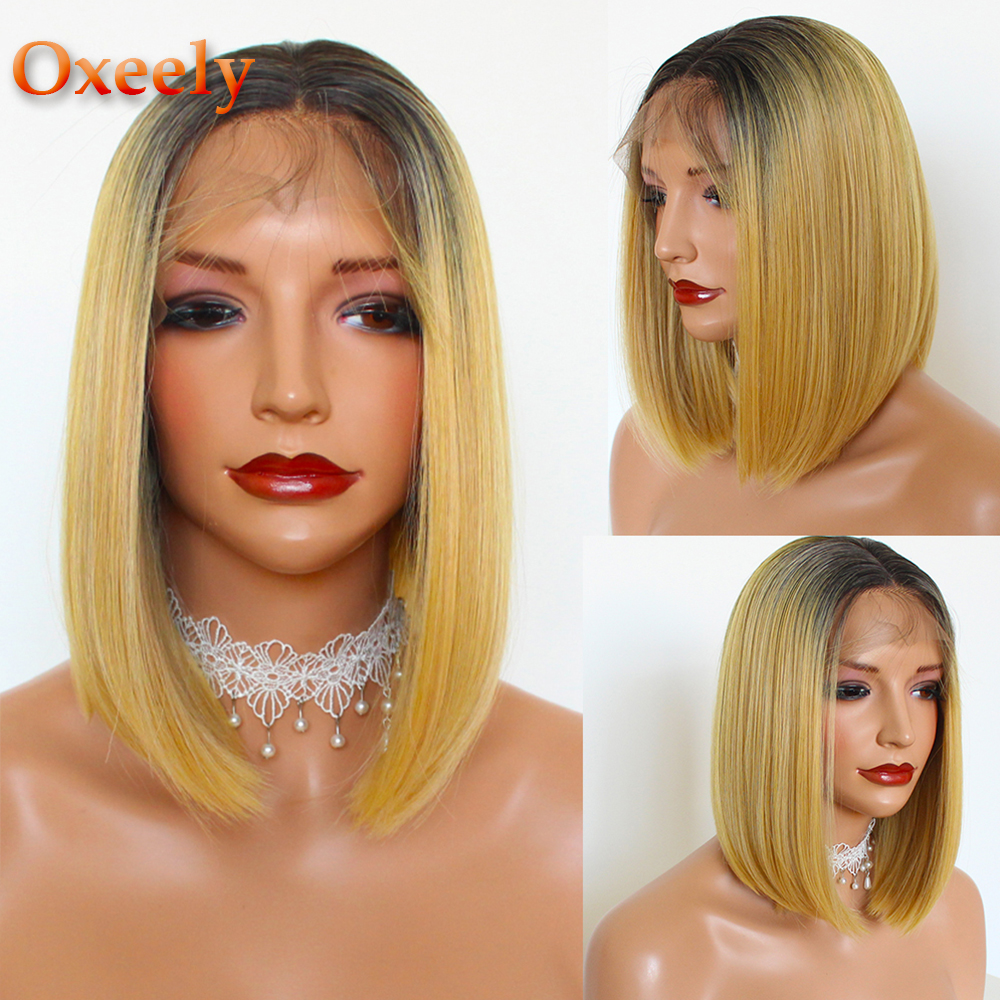 Oxeely Bob Wigs for Women Ombre Yellow Color Lace Front Wigs Heat Resistant Short Straight Synthetic Lace Front Wigs Fiber Wigs