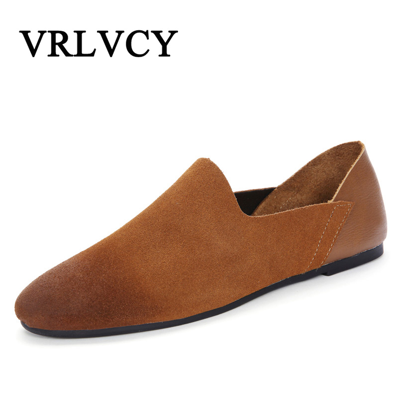 Handmade Comfortable Soft Suede Men Loafers Cow Genuine Leather Fashion Brand Mens Flats Spring Summer Driving Shoes genuine leather men casual shoes summer loafers breathable soft driving men s handmade chaussure homme net surface party loafers