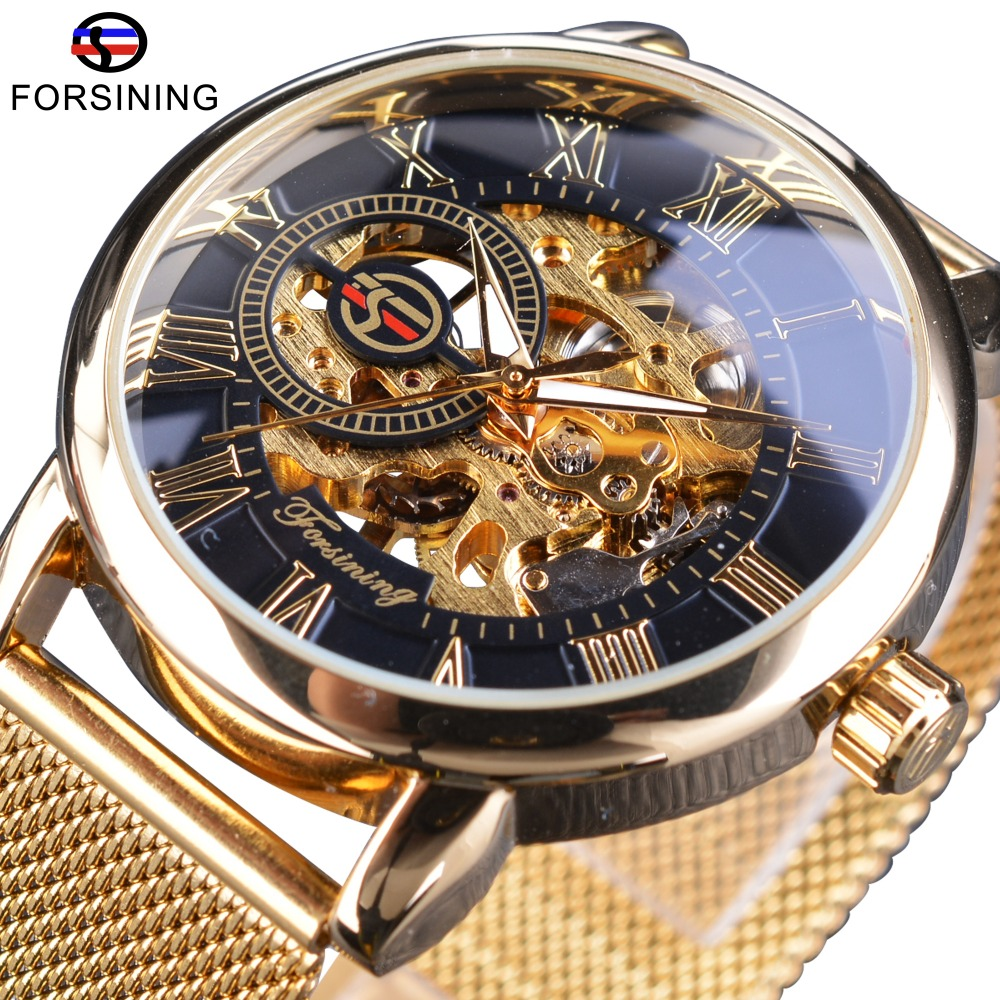 Forsining Transparent Case 2017 Fashion 3D Logo Engraving Men Watches Top Brand Luxury Mechanical Skeleton Wrist Watch Clock Men