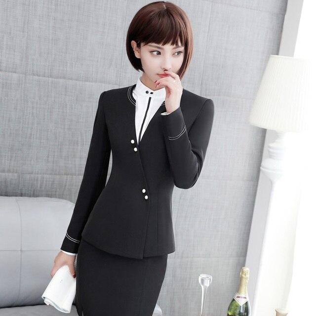 7d0d913fd7a83 Nouveau Automne Hiver Formelle OL Styles Blazers Costumes Avec Vestes Et  Jupe Pour Dames de Bureau
