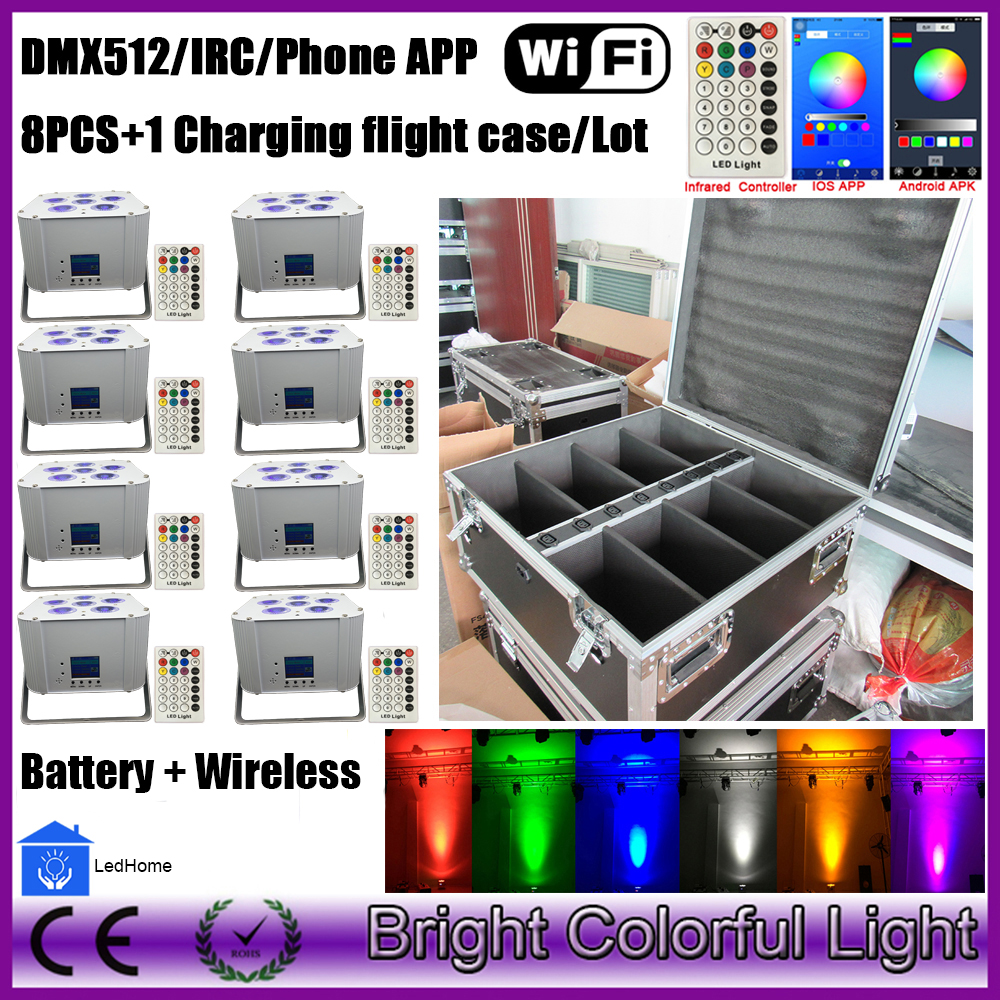 US $1389 0  HOT!!!DJ lighting wireless led light RGBWAUV LED Wash par  battery led wedding uplighting with WIFI Phone, IPaid APP Control 18W-in  Stage