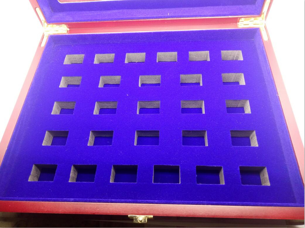 27 holes blue felt brown wooden display box for rings