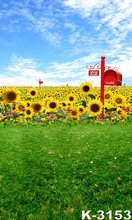 Hot Selling Photographic Studio Backdrops 150*200cm Sunflowers And Blue Sky Decoration Children/Wedding Photo Studio Backgrounds