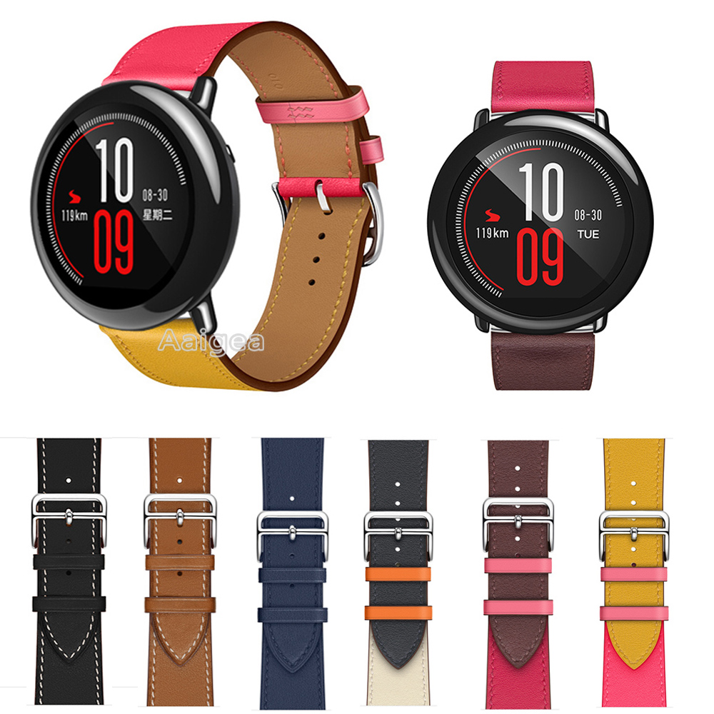 22mm Genuine Leather Watch Band Strap For Xiaomi Huami Amazfit PACE Smart Watch Replacement Wrist Band Strap For Amazfit Pace