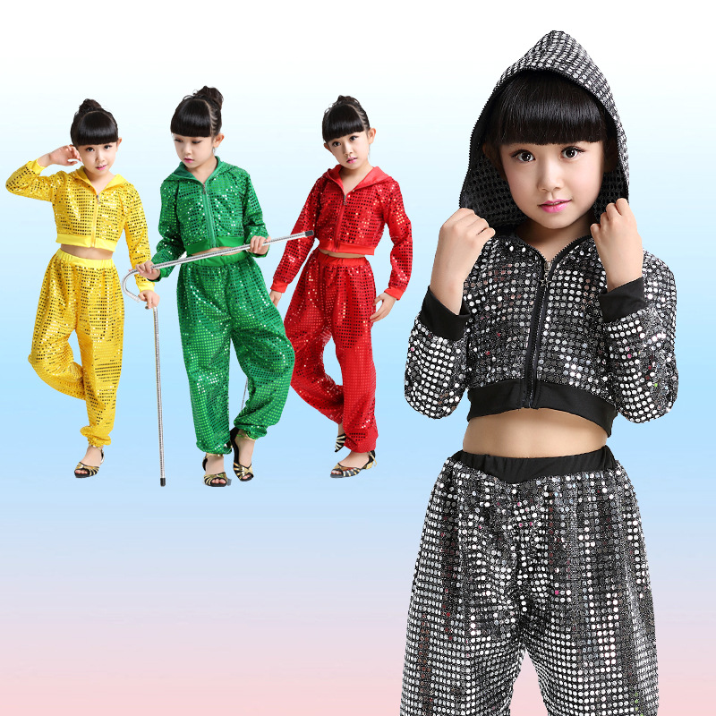 Kid girl boy hip hop dance costume glitter long sleeve stage  jazz costume hiphop Suit children ballroom Top Hooded and Pants