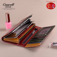 2017 Vintage Genuine Cowhide Leather Purse Wallet New Fashion Simple Female Long Famous Brand Wallets For