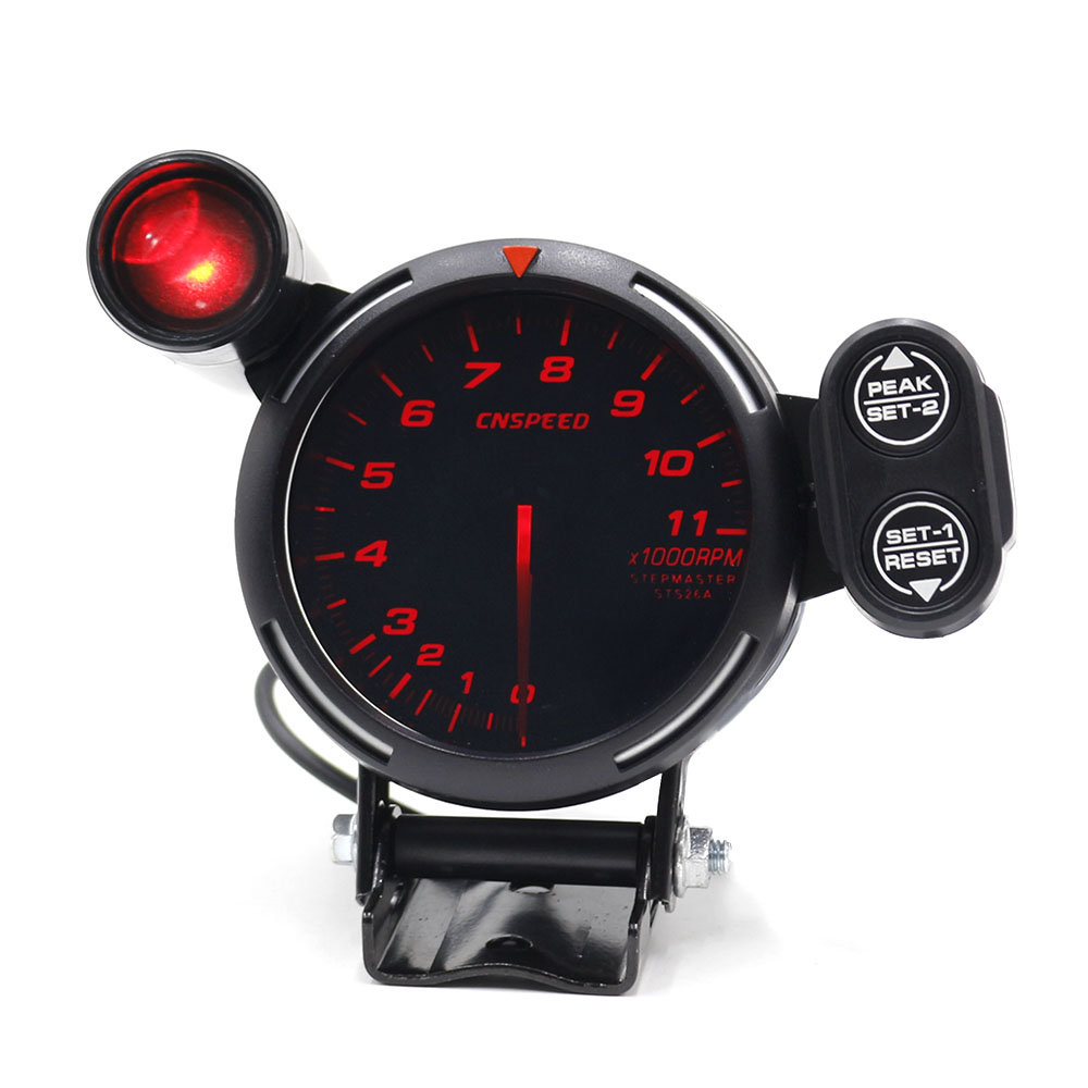 CNSPEED 80mm Racing Car Rpm Tachometer Gauge With Warning light Auto car Gauge/Car Meter/Black Face Tachometer Gauge xs101146-in Tachometers from Automobiles & Motorcycles