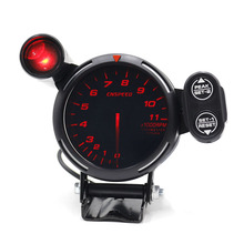Cnspeed 80Mm Racing Car Rpm Toerenteller Gauge Met Waarschuwingslampje Auto Gauge/Auto Meter/Zwart Gezicht toerenteller Gauge Xs101146