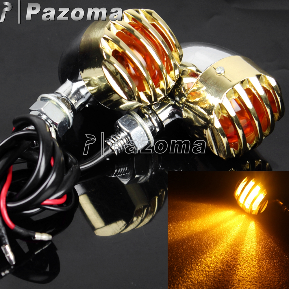 PAZOMA Chrome And Brass Grill Bullet Aluminum Turn Signal Indicator Lights Blinker For Harley Chopper Sportster Dyna