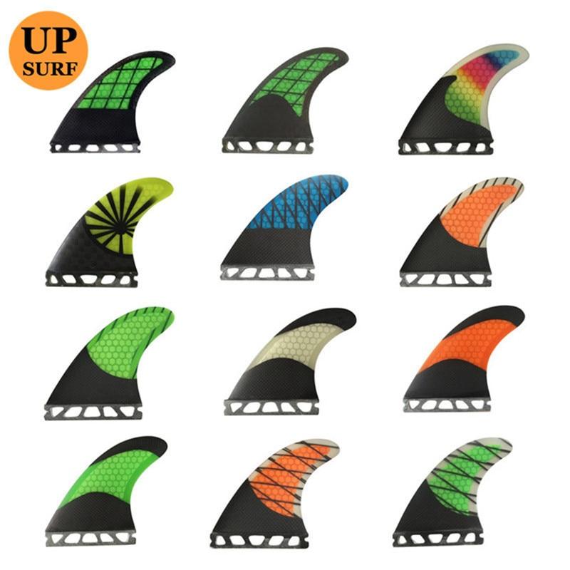 Future-Fins-G5 de Surf Quilhas FCS aileron de planche de Surf vert oraneg avec fibre de verre noire