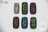 TCRT 004 American Fantasy Iridescent Rainbow Color Mylar Flakes Shape Mix Size Glitter For Nail Art