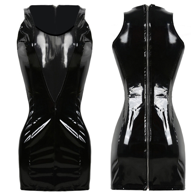 Buy Women Sexy PVC Leather Latex Dress Sleeveless Zipper Bodycon Catsuit Bondage Fetish Punk Clubwear Pole Dance Costume