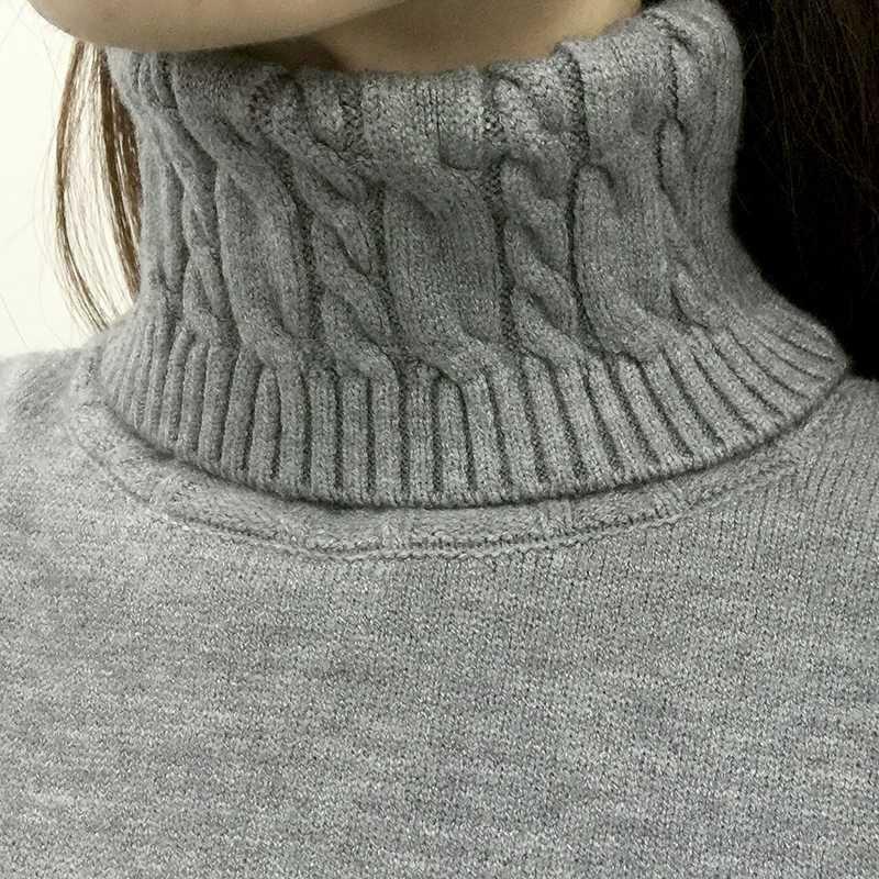 Толстый теплый женский свитер с высоким воротом 2018 осень зима вязаный женский свитер и пуловер женский трико джемпер Pull Femme пуловер