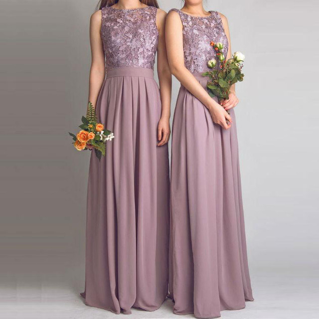 91cf2440577 Dusty Rose Bridesmaid Dresses Scoop Neck Top Lace Backless Chiffon Long  Wedding Guest Dress Floor Length Maid of Honor Dress