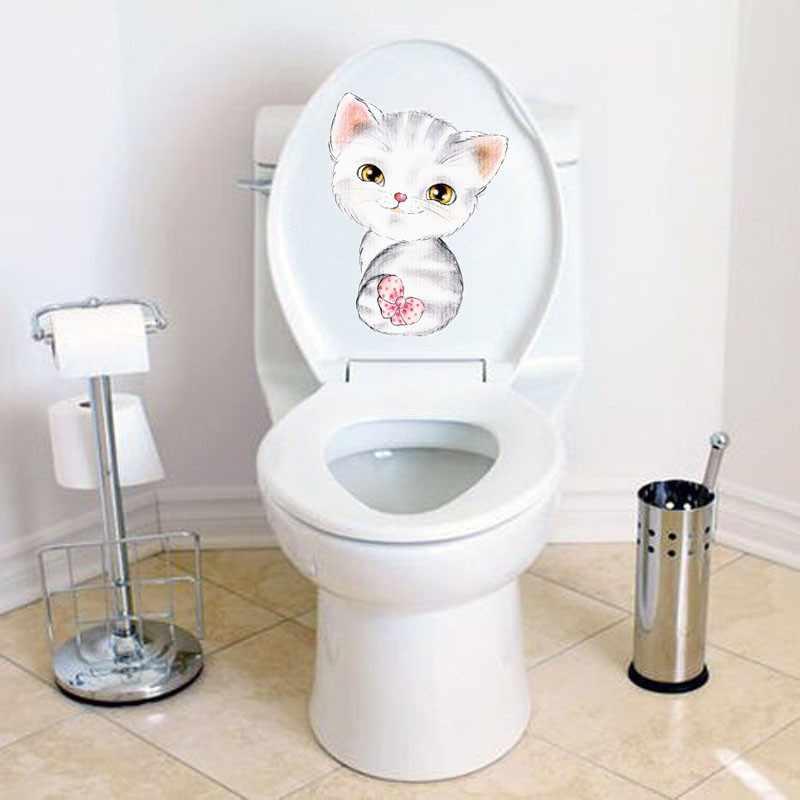 شاهد سيفيد 20*30 سنتيمتر القطط ملصقات جدار للأطفال غرف الحمام المرحاض ديكور المنزل الكرتون الحيوان صور مطبوعة للحوائط لتقوم بها بنفسك جدارية الفن