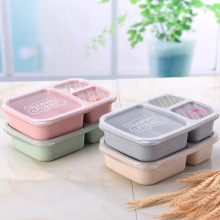 food lunch thermal box cute storage container  Rectangle Square snack with wheat straw in compartments