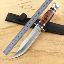 Camping Straight Knife Blade 3Cr13Mov wood handle 58HRC Army hunting tactical knife outdoor Hand Tools