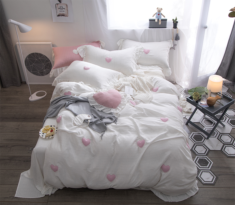 100%Cotton Princess White Pink Bedding Set Queen King Double Size Girls Bedroom Duvet Cover Bed Sheet Set Bed Cover Pillowcases