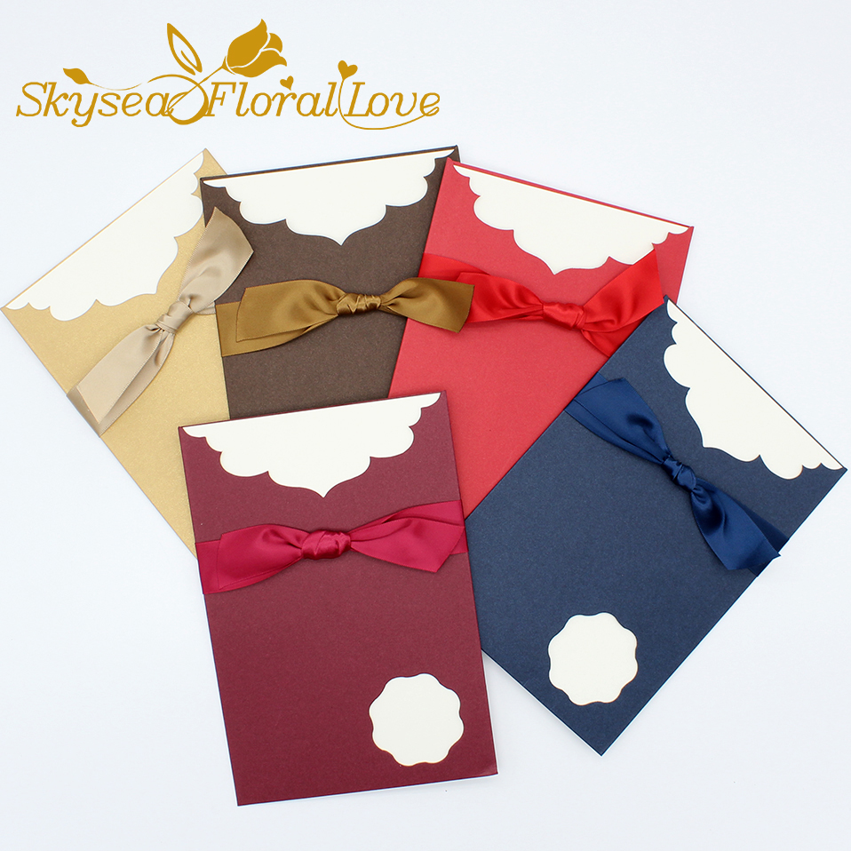 Laser cut wedding invitations Royal blue gold bow designed elegant ...