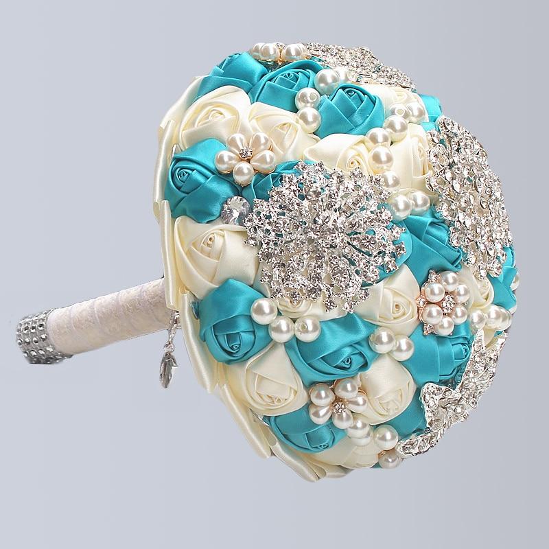 Image 4 - WifeLai A Handmad Ivory Bridal Wedding Bouquets Rose Elegant Stunning Pearls Beaded Crystal Brooch Stitch Marriage Bouquets W230Wedding Bouquets   -