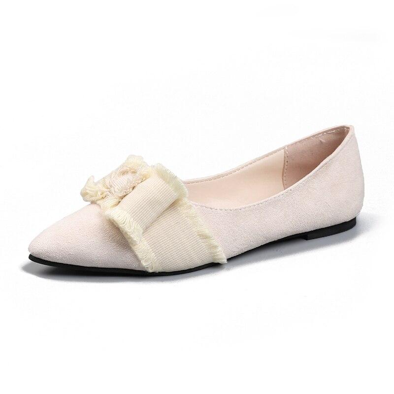 Beige Nuevas Punta Zapatos Bow Boca Baja negro Otoño Primavera 2019 Las Damas Flats Mujeres Lona De Mujer ZTnSxPw5q