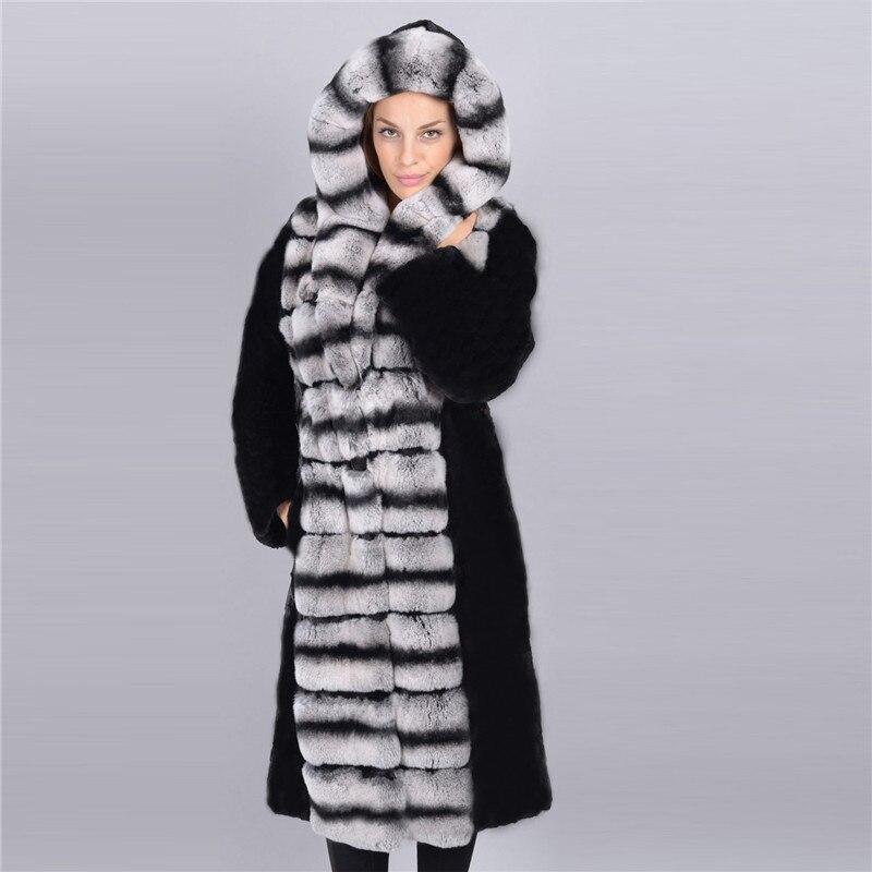 Pleine Mode Véritable 100 Black De Fourrure Manteau Femmes Naturel Femelle 056 Lapin Hiver Cm Rb Avec Capuche Pardessus Pelt Veste Long Rex IED9H2