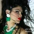 Green Acrylic  Plam Tree Hawaii  Stud Earrings