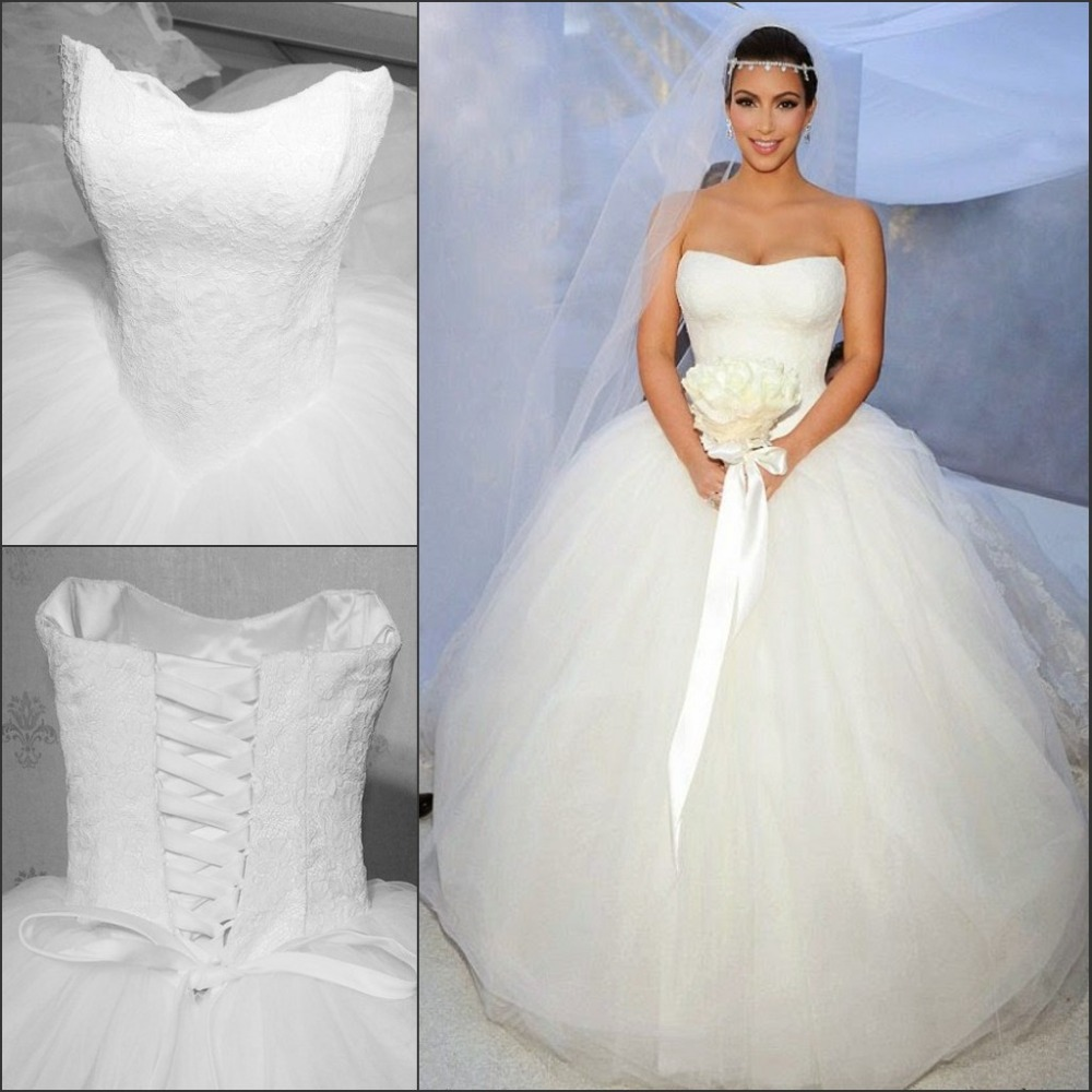 Kim K Wedding Gown: Romantic Vestido De Casamento Sweetheart White Tulle Ball