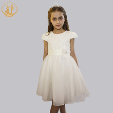 2016 New Summer Dress Lace Girl Baby Girl Princess Dress 4-12 Age Ball Gown Beige Children Clothes Wedding Party