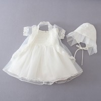 Baby Girl Christening Gowns Baptism Clothes 1 Year Birthday Dress Infant Party Dress Wedding Wear Beige