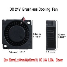 Gdstime 10 Pieces DC 24V 30x30x10mm Cooling Blower Fan 3D Printer Radiator 30mm x 10mm 3010 3cm Small Fan Sleeve