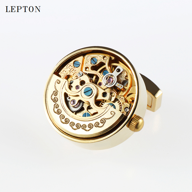 Low-key Luxury Functional Watch Movement Cufflinks Lepton Stainless Steel Steampunk Gear Mechanism Mens