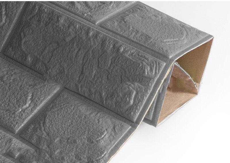 3D настенные наклейки имитация кирпича Декор для спальни водонепроницаемые самоклеящиеся обои для гостиной кухни ТВ фон Декор - Цвет: Silver gray  60x60cm