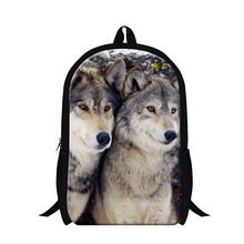 Cool Wolf 3D printing school backpacks for boys,fashion animal design back pack for teenagers,stylish day pack for girls travel