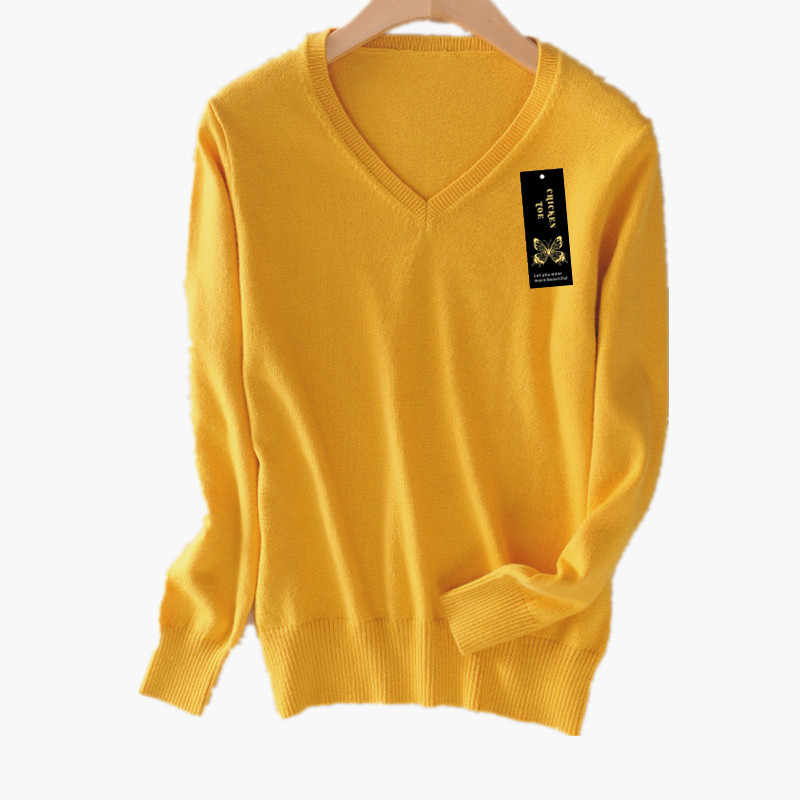 CHICKEN TOE Soft Cashmere Elastic Sweaters Pullovers Women Autumn Sweater V-Neck Female Jumper Knitted Brand Pullover