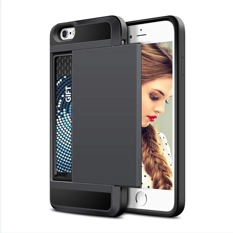 Coque de téléphone armure de marque de luxe pour IPhone 5S SE 5 6 S 6 S 7 I6 Plus porte-cartes en plastique Silicone housse de portefeuille pour Coque ...